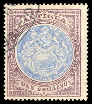 Antigua 1912 1s Blue & Dull Purple.  Sg 49.  Sc 37. photo