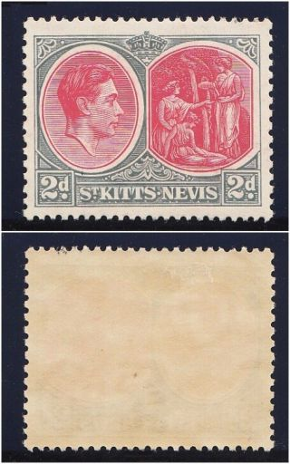 St Kitts - Nevis 1938 Kgvi 2d Carmine & Deep Grey.  Sg 71a. photo