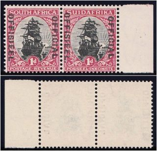 South Africa 1930 Kgv Official 1d Black & Carmine Pair.  Sg O13b. photo