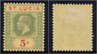 St Lucia 1923 Kgv 5s Green & Red/pale Yellow.  Sg 105.  Sc 89. photo