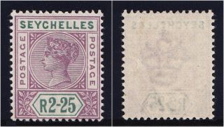 Seychelles 1900 Qv 2r25 Bright Mauve & Green.  Sg 36.  Sc 21. photo