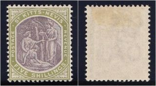 St Kitts - Nevis 1903 Kevii 5s Dull Purple & Sage - Green Vf.  Sg 10.  Sc 10. photo