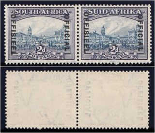 South Africa 1935 Kgv Official 2d Blue & Violet Pair Vfm.  Sg O23.  Sc O28. photo