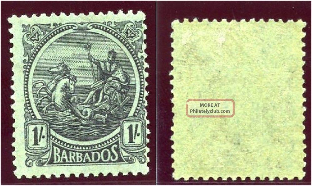 Barbados 1921 Kgv 1s Black/emerald Mlh.  Sg 226.  Sc 159. British Colonies & Territories photo