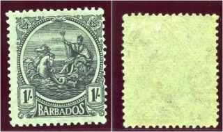 Barbados 1921 Kgv 1s Black/emerald Mlh.  Sg 226.  Sc 159. photo