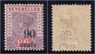 Seychelles 1893 Qv 90c On 96c Mauve & Carmine.  Sg 21.  Sc 26. photo