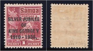 Samoa 1935 Kgv 1d Lake Perf 14x14½.  Sg 177a.  Sc 163a. photo