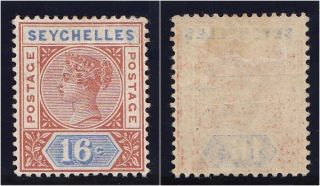 Seychelles 1892 Qv 16c Chestnut & Ultramarine.  Sg 14.  Sc 12a. photo