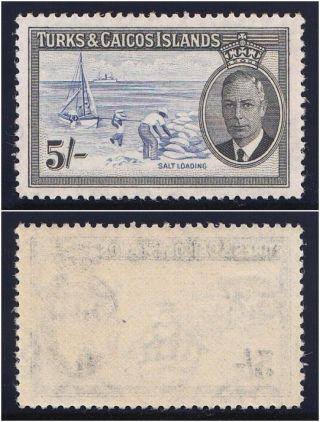 Turks & Caicos 1950 Kgvi 5s Blue & Black.  Sg 232.  Sc 116. photo