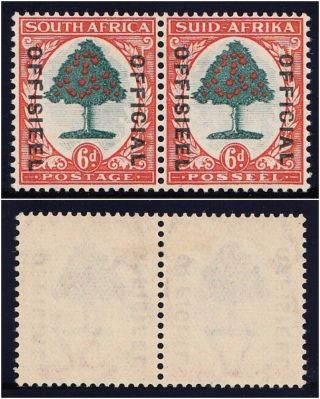South Africa 1935 Kgv Official 6d Green & Vermilion Pair Vfm.  Sg O24.  Sc O30. photo