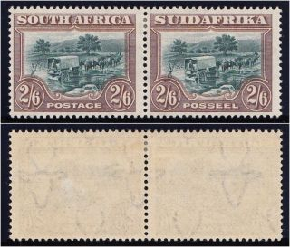South Africa 1927 Kgv 2s6d Green & Brown Bilingual Pair Vfm.  Sg 37.  Sc 30. photo