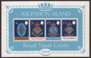 Mini Sheet - Ascension 1969 Ms125 Royal Navy Crests (1st Series) photo