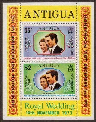 Mini Sheet - Antigua 1973 Ms375 Royal Wedding Overprint Honeymoon Visit photo