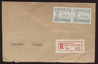 Nauru 1941 Freighter 3d Pair. . .  Registered Cover To Usa photo