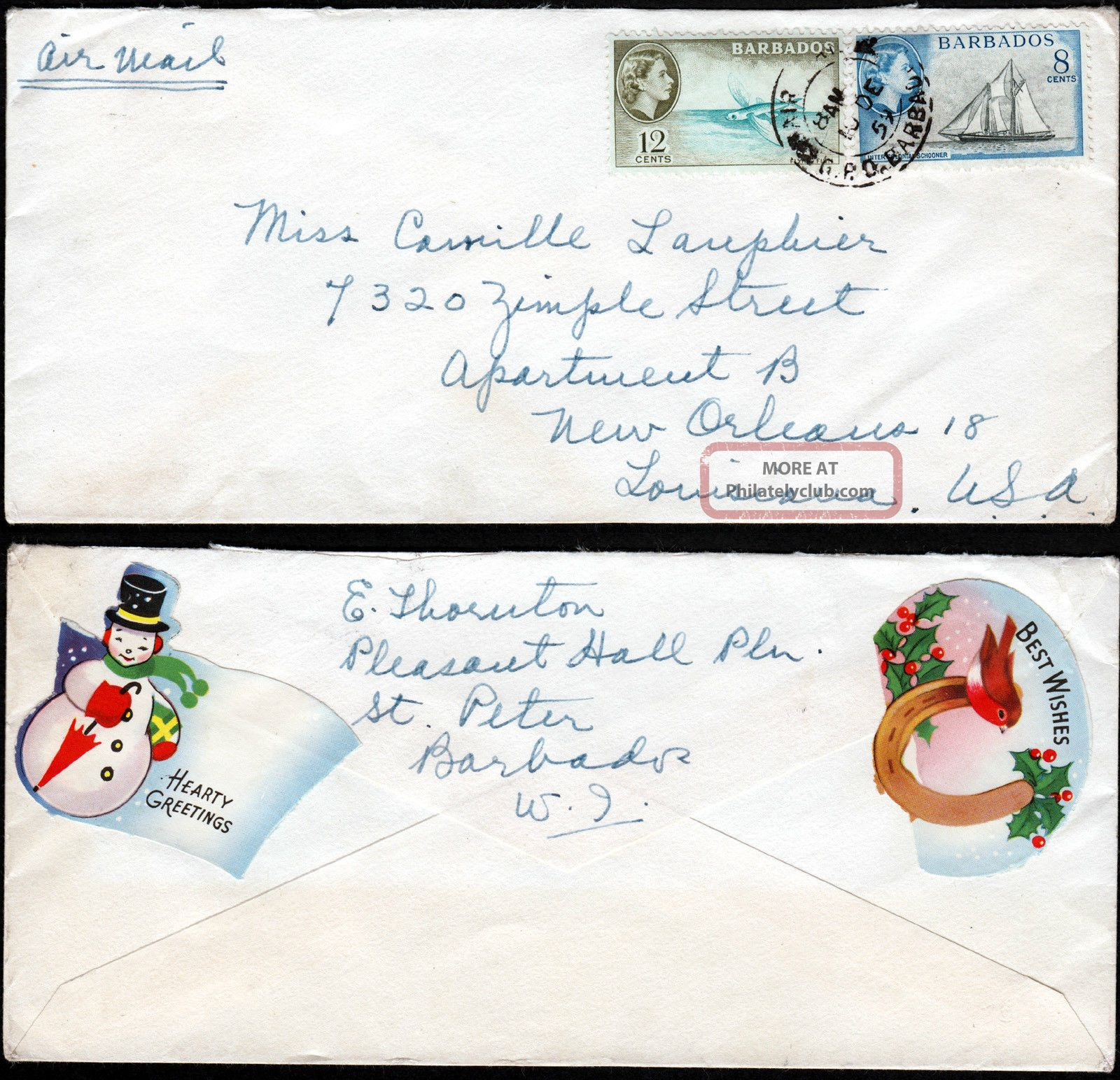 Barbados - Usa 1959 Airmail Cover F/w Qeii 8c & 12c Canc Unlcear Cds British Colonies & Territories photo