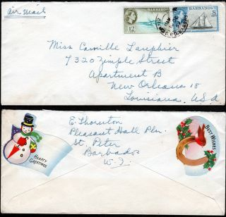 Barbados - Usa 1959 Airmail Cover F/w Qeii 8c & 12c Canc Unlcear Cds photo