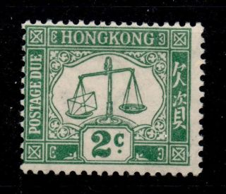 Hong Kong Sgd2 1923 2c Green Postage Due Mtd photo