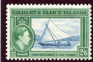 Gilbert & Ellice Is 1939 Kgvi 2s 6d Deep Blue & Emerald Mlh.  Sg 53.  Sc 50. photo