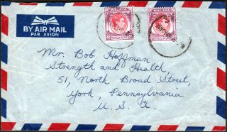 1949 Airmail Cover Singapore To Usa Franked Kgvi 2x40c Red & Purple Unclear Cds photo