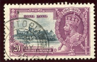 Hong Kong 1935 Kgv Silver Jubilee 20c Slate & Purple Vf.  Sg 136.  Sc 150. photo