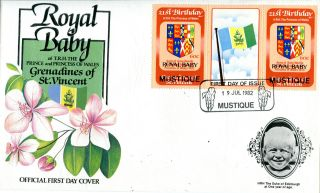 Mustique 1982 Birth Of Prince William 60c Gutter Pair First Day Cover (a) photo