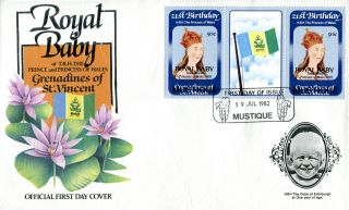 Mustique 1982 Birth Of Prince William 50c Gutter Pair First Day Cover (c) photo
