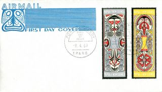 9 April 1969 Papua Guinea Folklore First Day Cover photo