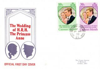 Cayman Islands 16 November 1973 Royal Wedding First Day Cover Cds photo