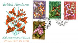 British Honduras 16 April 1968 Flowers Ecla Illustrated First Day Cover Cds photo