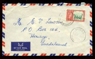 British Solomon Is.  1961 Airmail 3d. . .  Munda Postmark photo