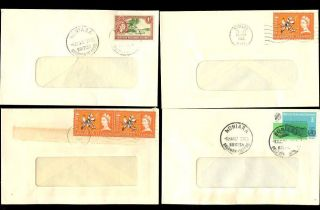 British Solomon Is.  1963 - 67 Small Commercial Window Envelopes. . .  4 Diff.  Frankings photo