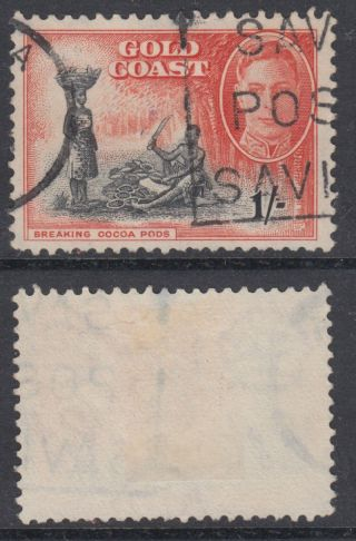 1948 Gold Coast Kgvi 1s Black & Vermillion; Fu; Sg 143 photo