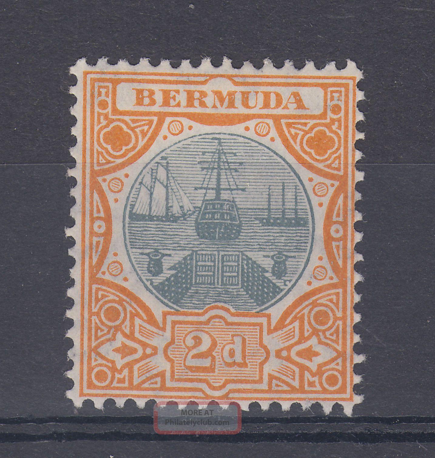 1907 Bermuda M/m Dry Dock 2d Stamp (sg 39) British Colonies & Territories photo