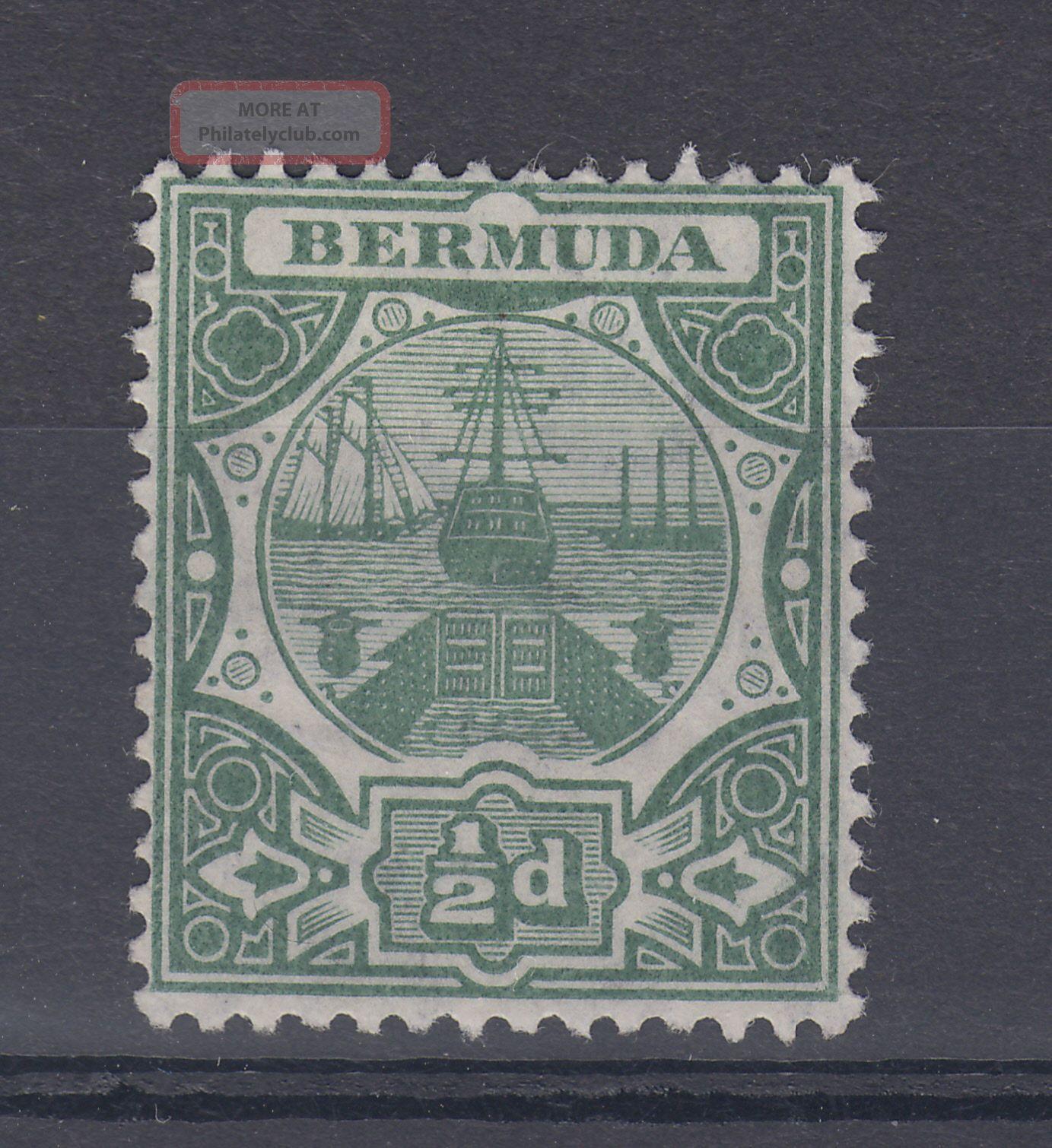 1909 Bermuda M/m Dry Dock 0.  5d Stamp (sg 36) British Colonies & Territories photo
