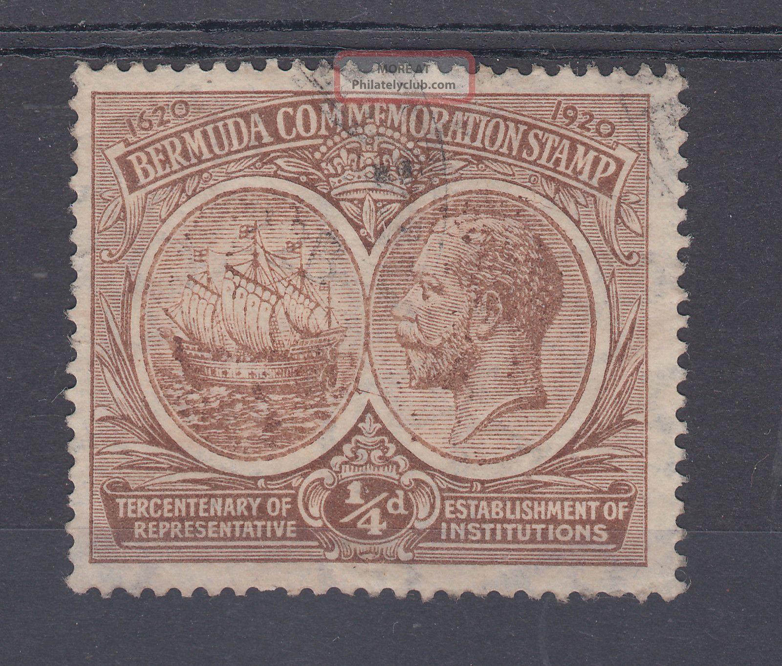 1920 Bermuda 0.  25d Tercentenary Stamp (sg 59) British Colonies & Territories photo