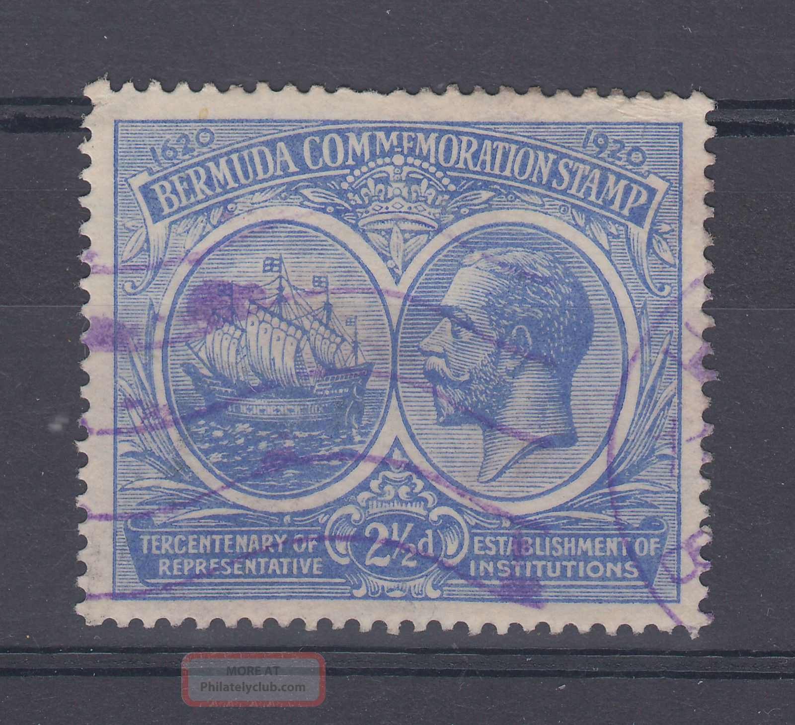 1920 Bermuda 2.  5d Tercentenary Stamp (sg 66) British Colonies & Territories photo