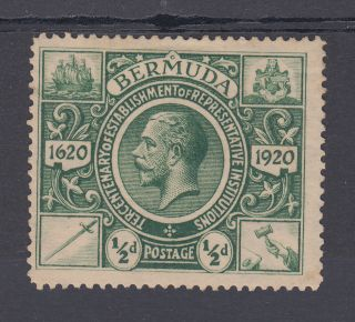 1921 Bermuda 0.  5d Stamp (sg 75w) - Wmk Crown To Left Of Ca photo