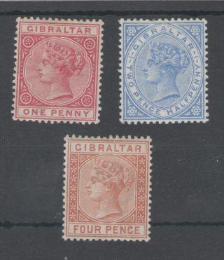 Gibraltar 1886 - 7 Qv 1d,  2.  5d & 4d Mounted Cat £220 photo
