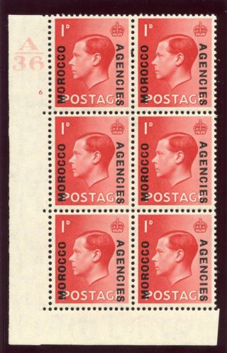 Morocco Agencies 1936 Keviii 1d Scarlet A36 Control Block Of Six Mlh.  Sg 75. photo