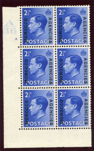 Morocco Agencies 1937 Keviii 2½d Bright Blue A36 Control Block Of 6 Mlh.  Sg 76. photo