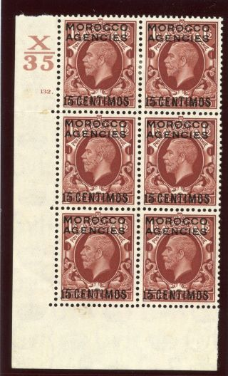 Morocco Agencies 1935 Kgv 15c On 1½d Red - Brown Control Block Of Six Mlh.  Sg 155. photo