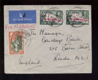 Ceylon 1936 Airmail Cover Pictorials 69c Perfins W & Co photo