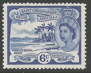 St.  Kitts - Nevis Sg112 1954 6c Ultramarine Mtd photo