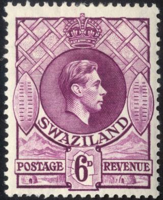 Swaziland - Sg 34 - 1938 - 54 - 6d.  Deep Magenta - Mounted Mint/mint Hinged photo
