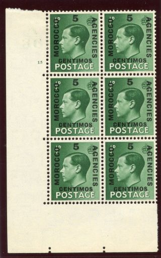 Morocco Agencies 1936 Keviii 5c On ½d Green A36 Ghost Control Block Mlh.  Sg 160. photo
