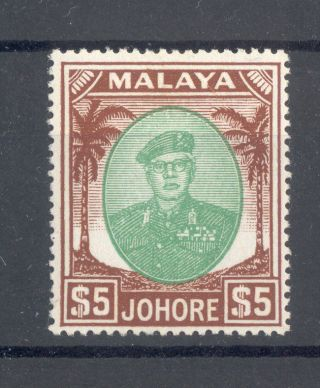 Malaya Johore Kgvi 1949 - 55 $5 Green & Brown Sg147 U/m photo