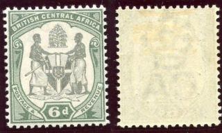 Nyasaland 1897 Qv 6d Black & Green Mlh.  Sg 46.  Sc 48. photo