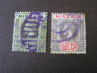 Nigeria,  Scott 29/30 (2),  1/ - + 2sh.  6p.  Values Kgv 1921 - 33 Die Ii Issue photo