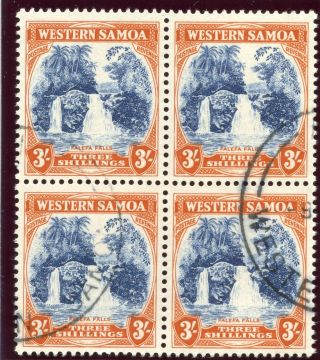 Samoa 1935 Kgv 3s Blue & Brown Orange Block Of Four Vf.  Sg 188.  Sc 174. photo