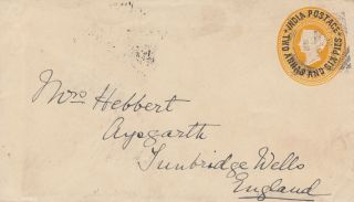 1892 India 2a6p Envelope Posted From Bombay To Tunbridge Wells photo